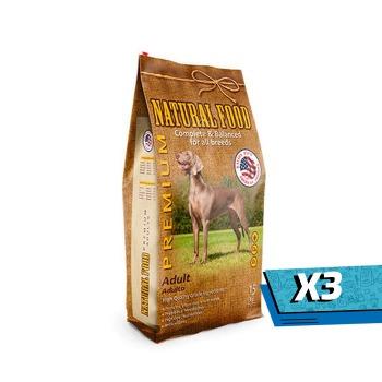 3x Natural Food Adulto Premium Premium 15 Kg