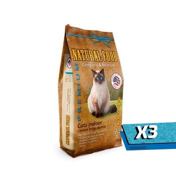 3x Natural Food Gatos Indoor Premium 7.5 Kg