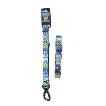 Wonder Dog Collar para Perros con Trailla Azul con Verde