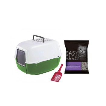 Kit Baño Sanitario Ferplast Verde + 2Kg Arena Easy Clean + Palita