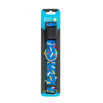 Wonder Dog Collar Diseño Azul con Rayas