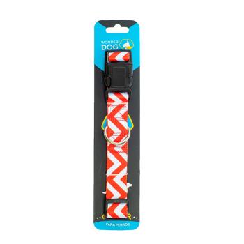 Wonder Dog Collar Diseño Zigzag Rojo