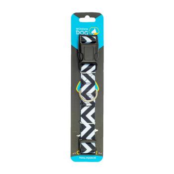 Wonder Dog Collar Diseño Zigzag Blanco y Negro