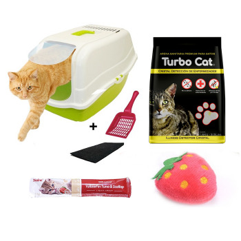 Kit Baño Romeo + Arena Turbo Cat Cristal Detección de Enfermedades + Mini Peluche + Snack
