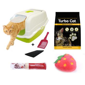 Kit Baño Romeo + Arena Turbo Cat Cristal Perlas Sanitarias + Mini Peluche + Snack