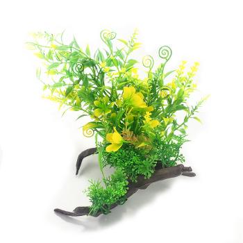 Adorno Tronco Con Plantas Espiral 12 cm para Acuarios