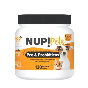 NUP! Pets Pre & Probióticos para perros y gatos Sabor Carne 120gr