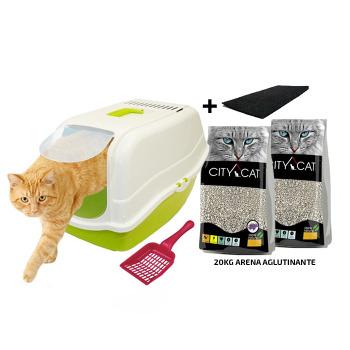 Kit Baño Sanitario Romeo + 1 Filtro + Arena City Cat Lavanda 20KG + Palita