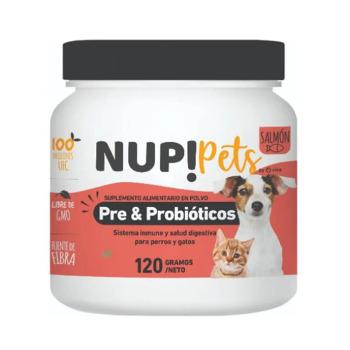 NUP! Pets Pre & Probióticos para perros y gatos Sabor Salmon 120gr