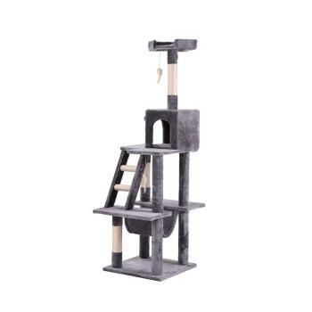 Rascador Torre 3 Plataformas con Hamaca y Escalera