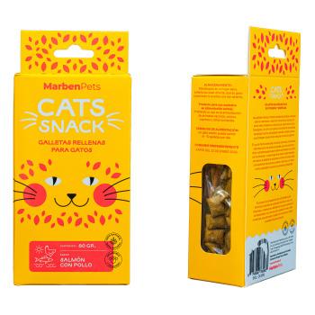 Cats Snack Galletas Rellenas con Salmón y Pollo