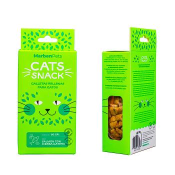 Cats Snack Galletas Rellenas con Salmón y Hierba gatera