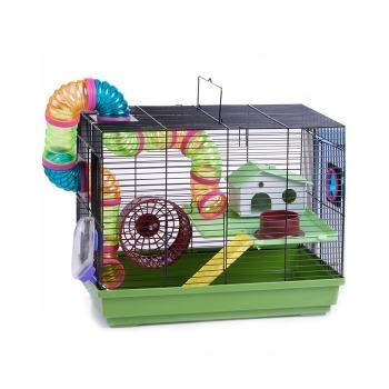 Jaula Hamster 2 Pisos Full Equipo Tubos